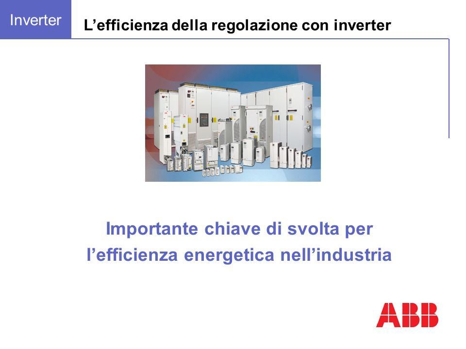 Importante chiave di svolta per lefficienza energetica nellindustria Inverter Lefficienza della regolazione con inverter