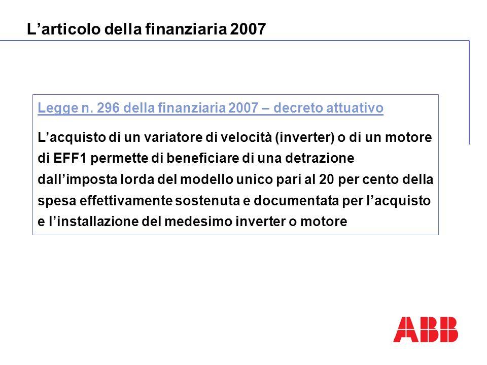 Larticolo della finanziaria 2007 Legge n. 296 della finanziaria 2007 – decreto attuativo Lacquisto di un variatore di velocità (inverter) o di un moto