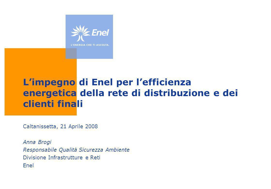 Limpegno di Enel per lefficienza energetica della rete di distribuzione e dei clienti finali Caltanissetta, 21 Aprile 2008 Anna Brogi Responsabile Qua
