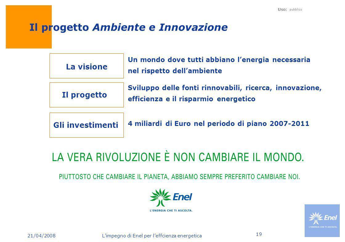 21/04/2008 Limpegno di Enel per leffcienza energetica Uso: pubblico 19 Il progetto Ambiente e Innovazione Un mondo dove tutti abbiano lenergia necessa