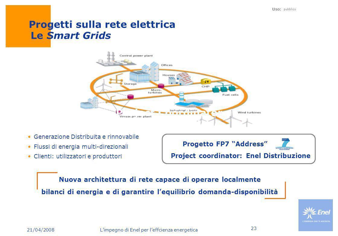 21/04/2008 Limpegno di Enel per leffcienza energetica Uso: pubblico 23 Le Smart Grids Generazione Distribuita e rinnovabile Flussi di energia multi-di