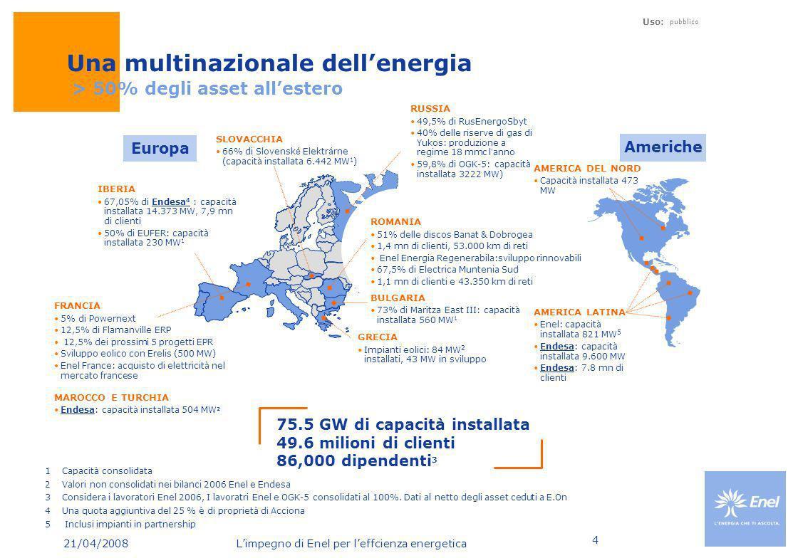 21/04/2008 Limpegno di Enel per leffcienza energetica Uso: pubblico 4 1Capacità consolidata 2Valori non consolidati nei bilanci 2006 Enel e Endesa 3Co