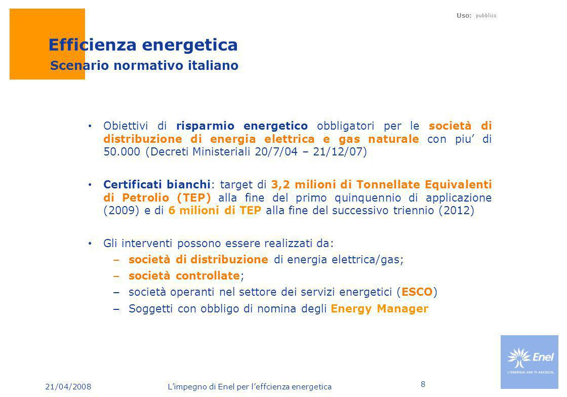 21/04/2008 Limpegno di Enel per leffcienza energetica Uso: pubblico 9 Obiettivi nazionali efficienza energetica Kte p di cui Enel Totale nazionale elettrico 20052006200720082009 di cui Enel Totale nazionale gas 200 400 800 2.200 3.200 2010 20112012 4.300 5.300 6.000 Enel sostiene la metà dello sforzo del Paese per il raggiungimento dei target di efficienza