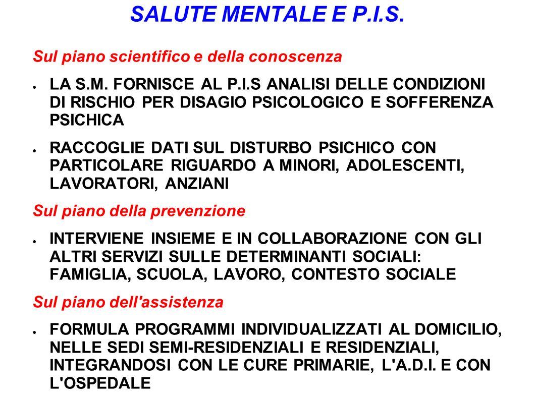 SALUTE MENTALE E P.I.S. Sul piano scientifico e della conoscenza LA S.M. FORNISCE AL P.I.S ANALISI DELLE CONDIZIONI DI RISCHIO PER DISAGIO PSICOLOGICO