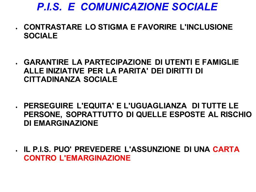 P.I.S. E COMUNICAZIONE SOCIALE CONTRASTARE LO STIGMA E FAVORIRE L'INCLUSIONE SOCIALE GARANTIRE LA PARTECIPAZIONE DI UTENTI E FAMIGLIE ALLE INIZIATIVE