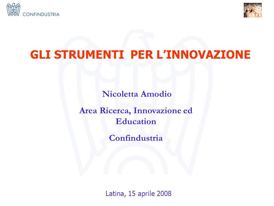 IMPRESE X INNOVAZIONE = I 3 Nucleo Ricerca ed Innovazione Nicoletta Amodio Area Ricerca, Innovazione ed Education Confindustria GLI STRUMENTI PER LINNOVAZIONE Latina, 15 aprile 2008