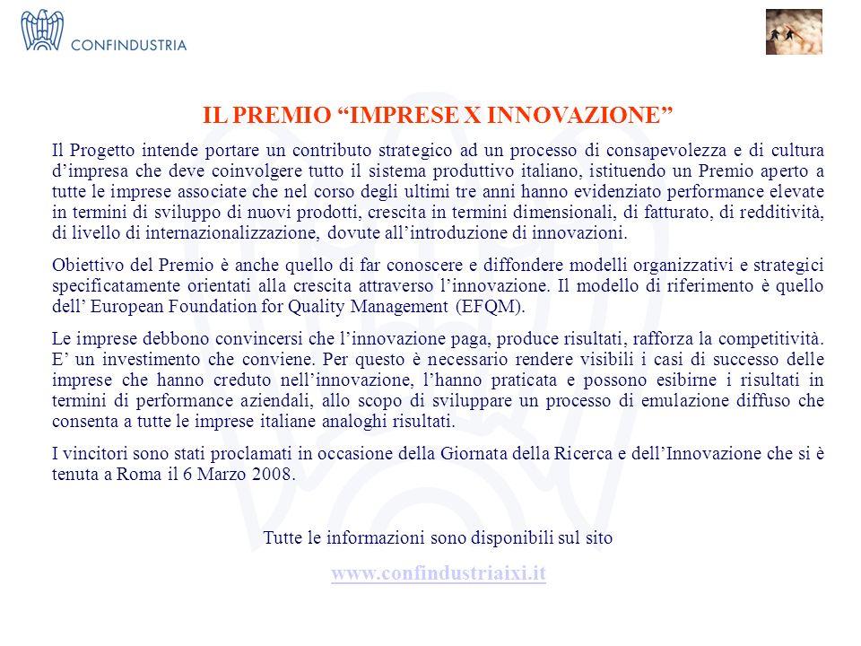 IMPRESE X INNOVAZIONE = I 3 Nucleo Ricerca ed Innovazione IL PREMIO IMPRESE X INNOVAZIONE Il Progetto intende portare un contributo strategico ad un processo di consapevolezza e di cultura dimpresa che deve coinvolgere tutto il sistema produttivo italiano, istituendo un Premio aperto a tutte le imprese associate che nel corso degli ultimi tre anni hanno evidenziato performance elevate in termini di sviluppo di nuovi prodotti, crescita in termini dimensionali, di fatturato, di redditività, di livello di internazionalizzazione, dovute allintroduzione di innovazioni.
