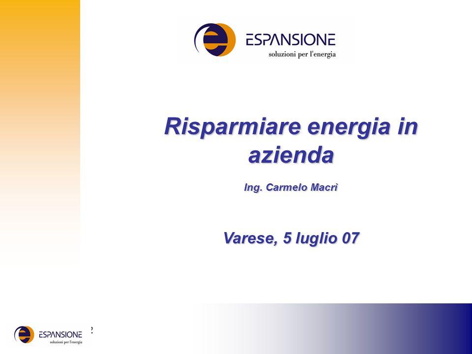 25 giugno 2002 Risparmiare energia in azienda Ing. Carmelo Macrì Varese, 5 luglio 07