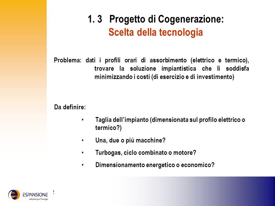 25 giugno 2002 1. 3 Progetto di Cogenerazione: Scelta della tecnologia Da definire: Taglia dellimpianto (dimensionata sul profilo elettrico o termico?