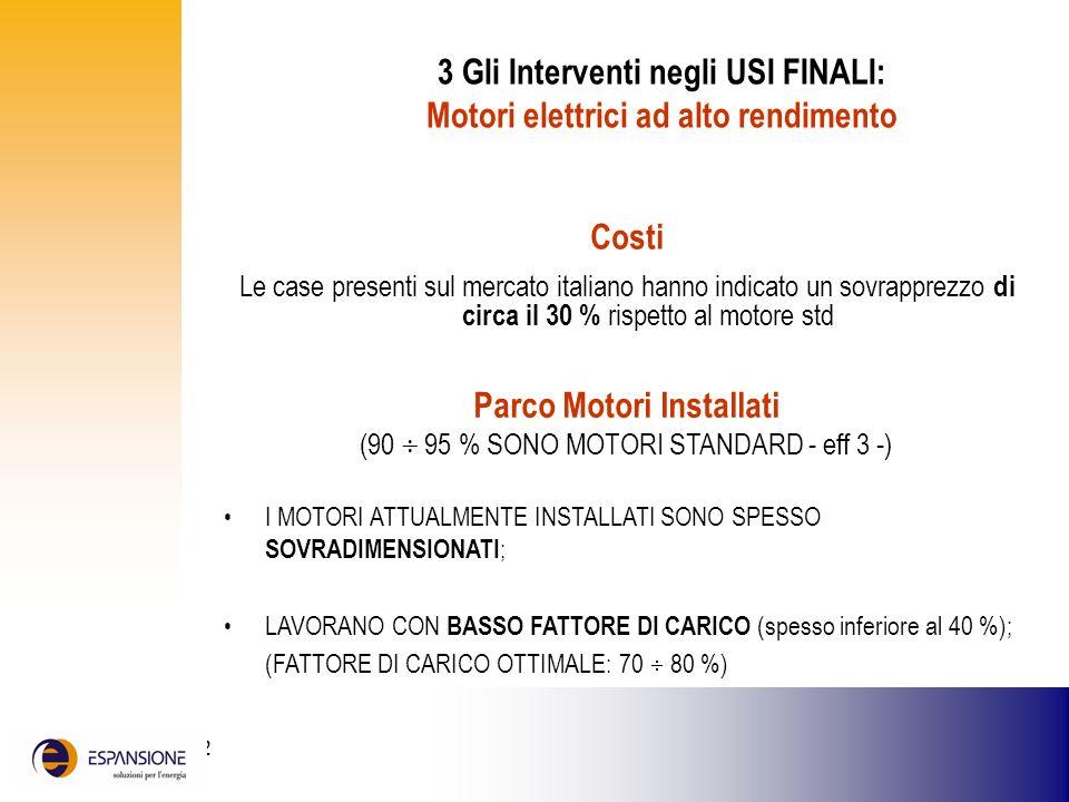 25 giugno 2002 3 Gli Interventi negli USI FINALI: Motori elettrici ad alto rendimento Costi Le case presenti sul mercato italiano hanno indicato un so