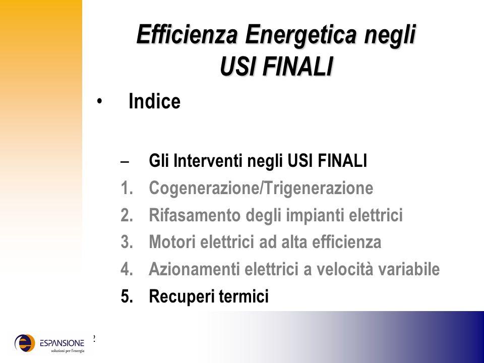 25 giugno 2002 Efficienza Energetica negli USI FINALI Indice – Gli Interventi negli USI FINALI 1.Cogenerazione/Trigenerazione 2.Rifasamento degli impi
