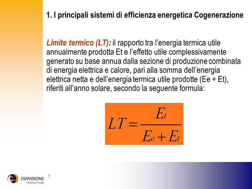 25 giugno 2002 Limite termico (LT): il rapporto tra lenergia termica utile annualmente prodotta Et e leffetto utile complessivamente generato su base
