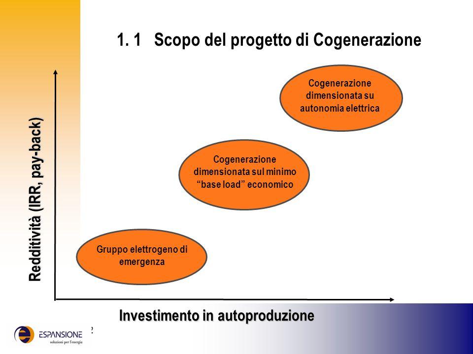 25 giugno 2002 Investimento in autoproduzione Redditività (IRR, pay-back) Gruppo elettrogeno di emergenza Cogenerazione dimensionata su autonomia elet
