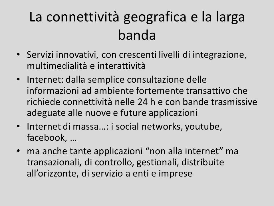 La connettività geografica e la larga banda Servizi innovativi, con crescenti livelli di integrazione, multimedialità e interattività Internet: dalla