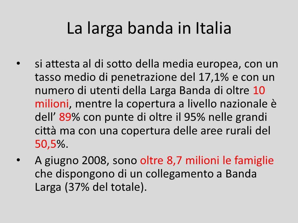 La larga banda in Italia si attesta al di sotto della media europea, con un tasso medio di penetrazione del 17,1% e con un numero di utenti della Larg