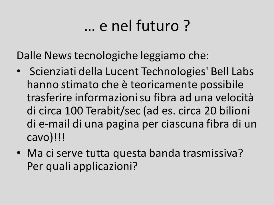 … e nel futuro ? Dalle News tecnologiche leggiamo che: Scienziati della Lucent Technologies' Bell Labs hanno stimato che è teoricamente possibile tras