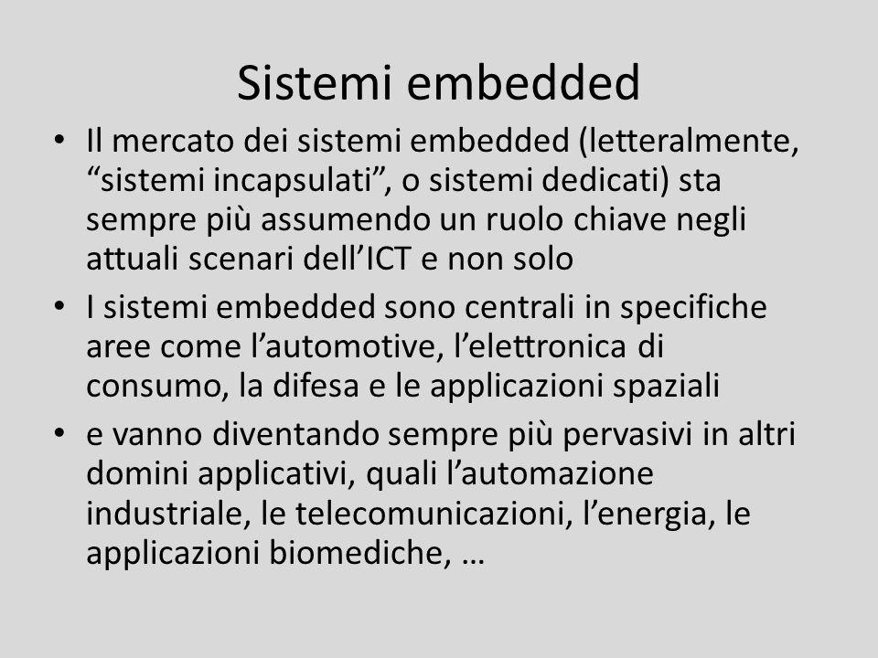 Sistemi embedded Il mercato dei sistemi embedded (letteralmente, sistemi incapsulati, o sistemi dedicati) sta sempre più assumendo un ruolo chiave neg
