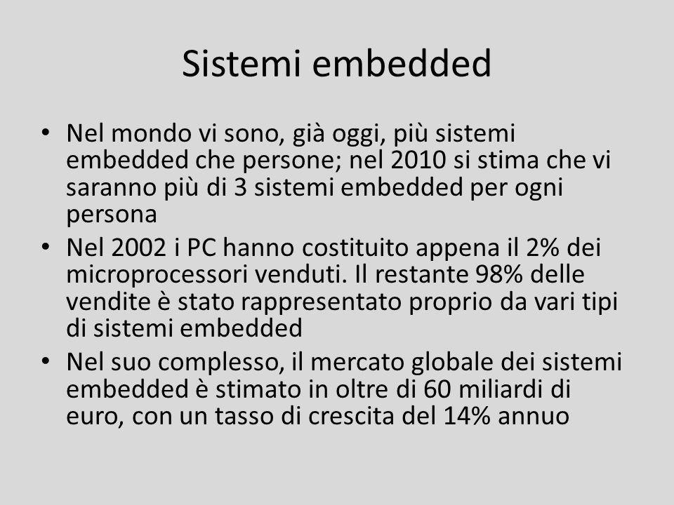 Sistemi embedded Nel mondo vi sono, già oggi, più sistemi embedded che persone; nel 2010 si stima che vi saranno più di 3 sistemi embedded per ogni pe
