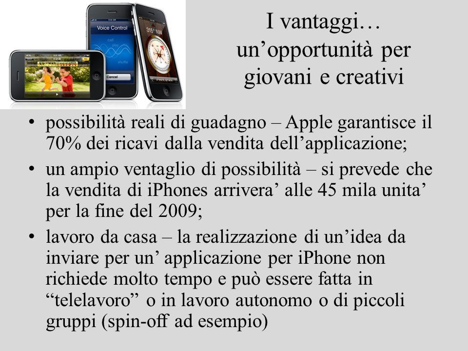 I vantaggi… unopportunità per giovani e creativi possibilità reali di guadagno – Apple garantisce il 70% dei ricavi dalla vendita dellapplicazione; un