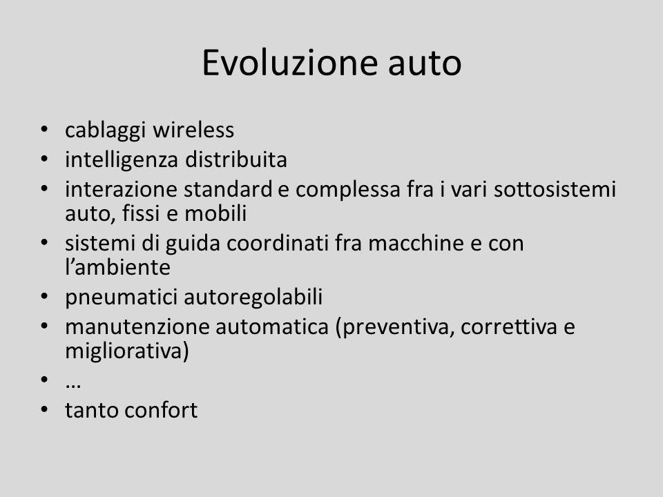 Evoluzione auto cablaggi wireless intelligenza distribuita interazione standard e complessa fra i vari sottosistemi auto, fissi e mobili sistemi di gu