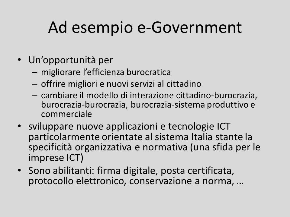Ad esempio e-Government Unopportunità per – migliorare lefficienza burocratica – offrire migliori e nuovi servizi al cittadino – cambiare il modello d