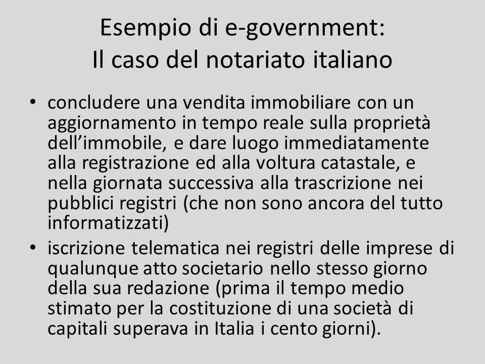 Esempio di e-government: Il caso del notariato italiano concludere una vendita immobiliare con un aggiornamento in tempo reale sulla proprietà dellimm