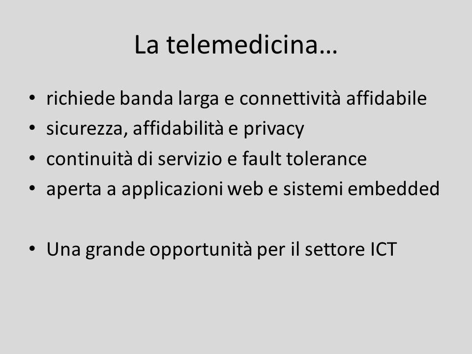 La telemedicina… richiede banda larga e connettività affidabile sicurezza, affidabilità e privacy continuità di servizio e fault tolerance aperta a ap