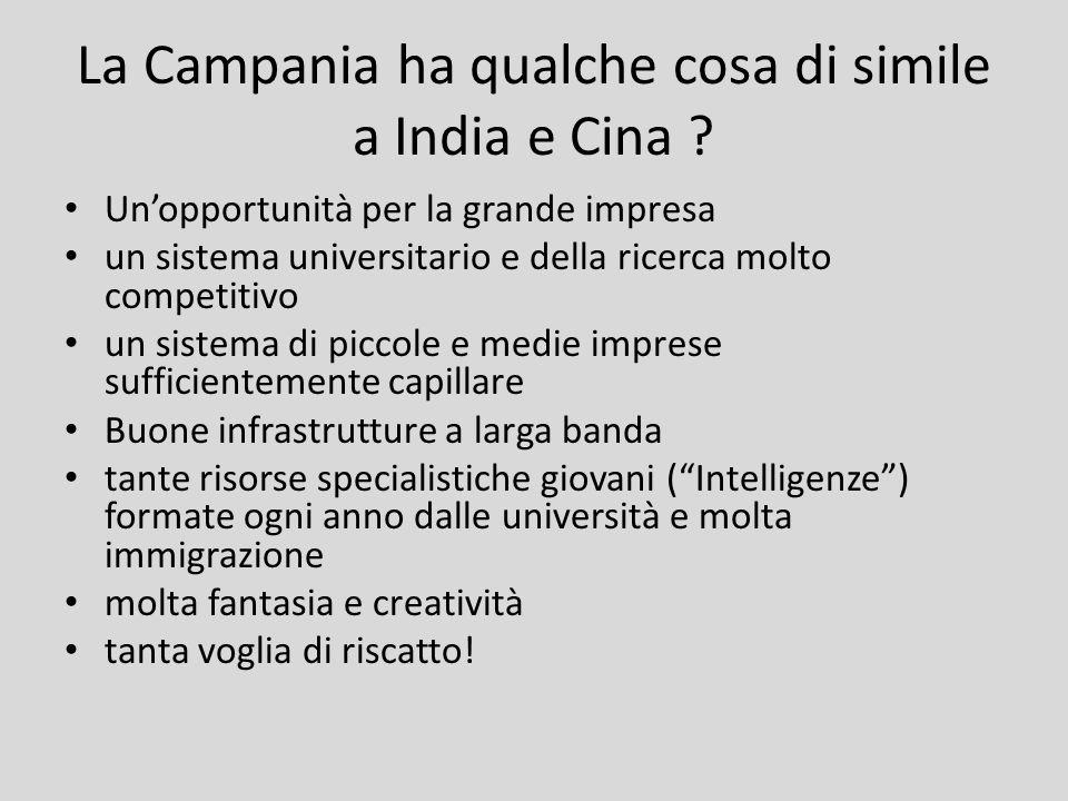 La Campania ha qualche cosa di simile a India e Cina ? Unopportunità per la grande impresa un sistema universitario e della ricerca molto competitivo