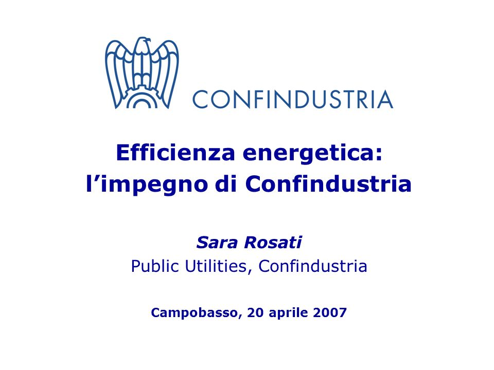1 Efficienza energetica: limpegno di Confindustria Sara Rosati Public Utilities, Confindustria Campobasso, 20 aprile 2007