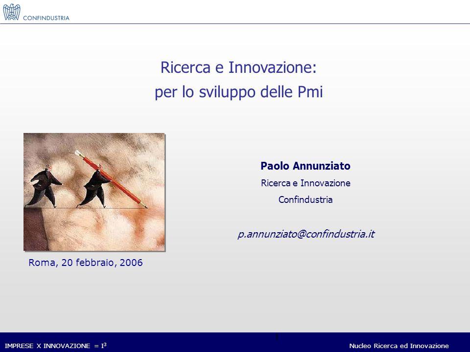 IMPRESE X INNOVAZIONE = I 3 Nucleo Ricerca ed Innovazione 1 Paolo Annunziato Ricerca e Innovazione Confindustria p.annunziato@confindustria.it Roma, 20 febbraio, 2006 Ricerca e Innovazione: per lo sviluppo delle Pmi