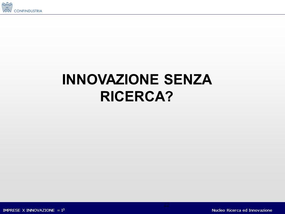 IMPRESE X INNOVAZIONE = I 3 Nucleo Ricerca ed Innovazione 22 INNOVAZIONE SENZA RICERCA?