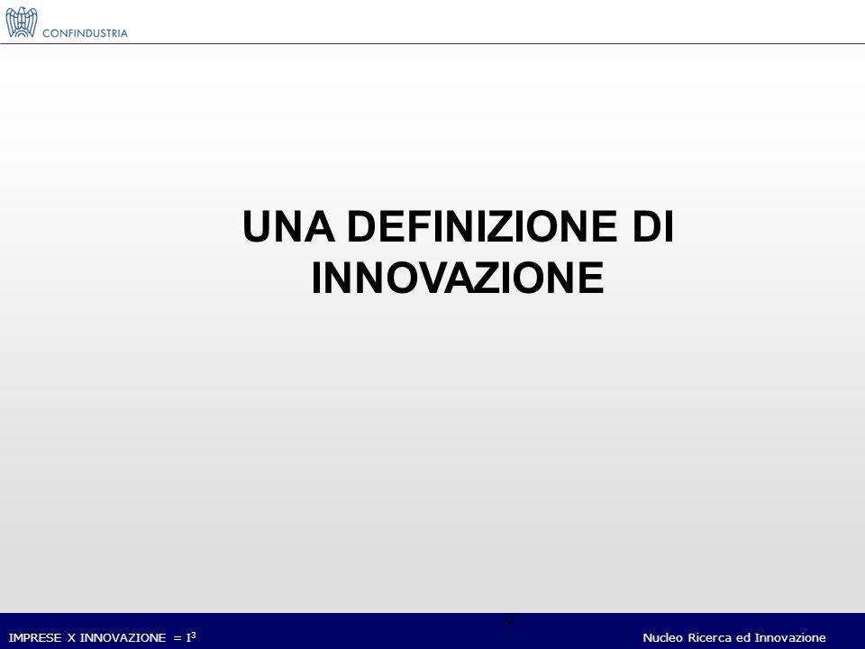 IMPRESE X INNOVAZIONE = I 3 Nucleo Ricerca ed Innovazione 9 UNA DEFINIZIONE DI INNOVAZIONE