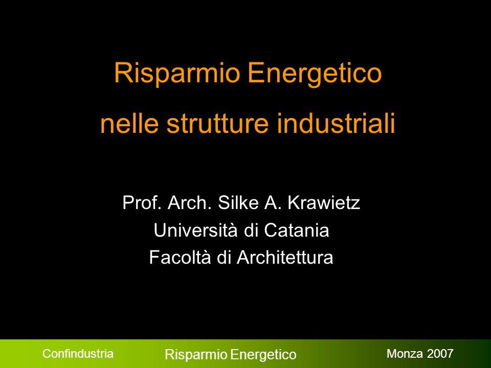 Confindustria Risparmio Energetico Monza 2007 Risparmio Energetico nelle strutture industriali Prof.