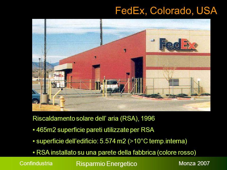 Confindustria Risparmio Energetico Monza 2007 FedEx, Colorado, USA Riscaldamento solare dell aria (RSA), 1996 465m2 superficie pareti utilizzate per RSA superficie delledificio: 5.574 m2 (>10°C temp.interna) RSA installato su una parete della fabbrica (colore rosso)