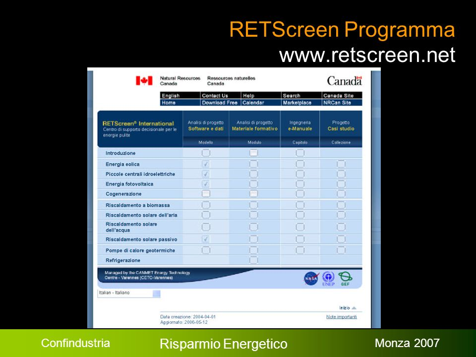 Confindustria Risparmio Energetico Monza 2007 RETScreen Programma www.retscreen.net