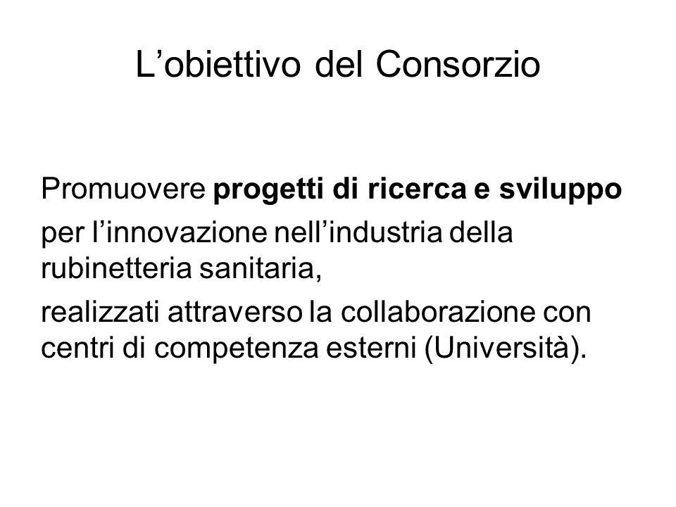 Lobiettivo del Consorzio Promuovere progetti di ricerca e sviluppo per linnovazione nellindustria della rubinetteria sanitaria, realizzati attraverso
