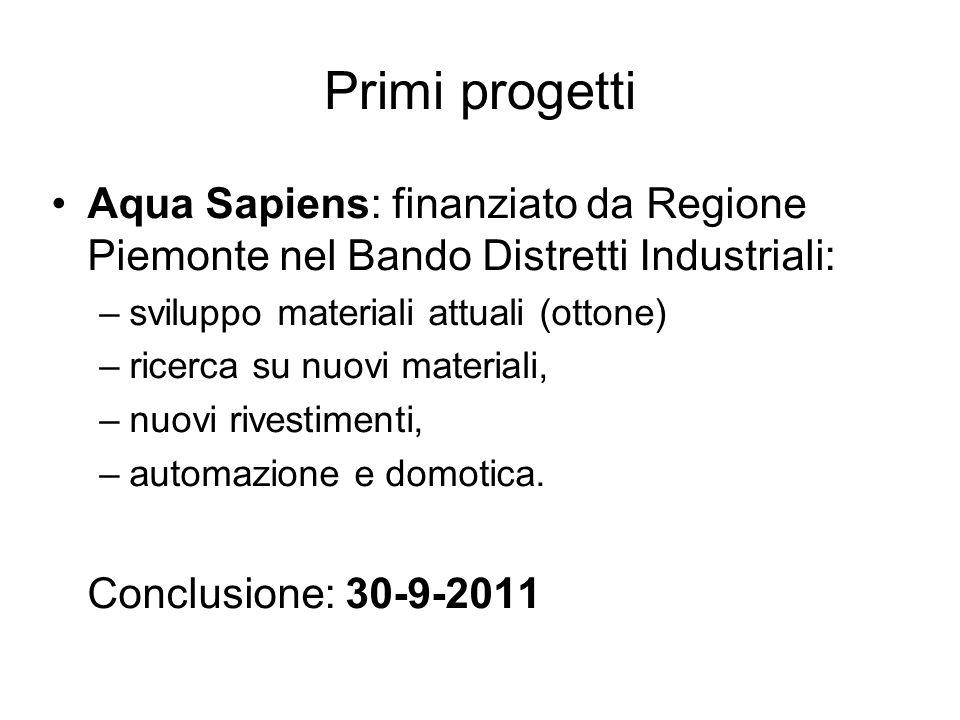 Primi progetti Aqua Sapiens: finanziato da Regione Piemonte nel Bando Distretti Industriali: –sviluppo materiali attuali (ottone) –ricerca su nuovi ma