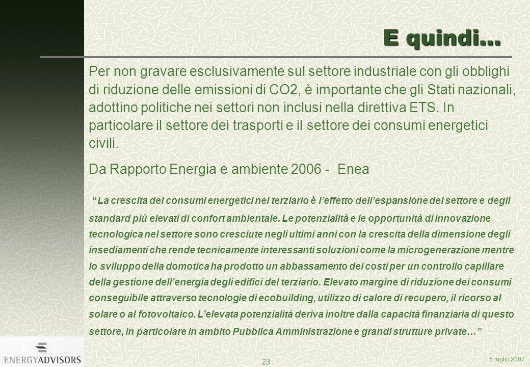 5 luglio 2007 23 E quindi… Per non gravare esclusivamente sul settore industriale con gli obblighi di riduzione delle emissioni di CO2, è importante che gli Stati nazionali, adottino politiche nei settori non inclusi nella direttiva ETS.