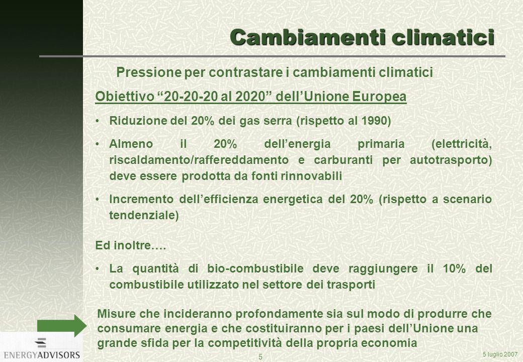 5 luglio 2007 5 Cambiamenti climatici Pressione per contrastare i cambiamenti climatici Obiettivo 20-20-20 al 2020 dellUnione Europea Riduzione del 20% dei gas serra (rispetto al 1990) Almeno il 20% dellenergia primaria (elettricità, riscaldamento/raffereddamento e carburanti per autotrasporto) deve essere prodotta da fonti rinnovabili Incremento dellefficienza energetica del 20% (rispetto a scenario tendenziale) Ed inoltre….
