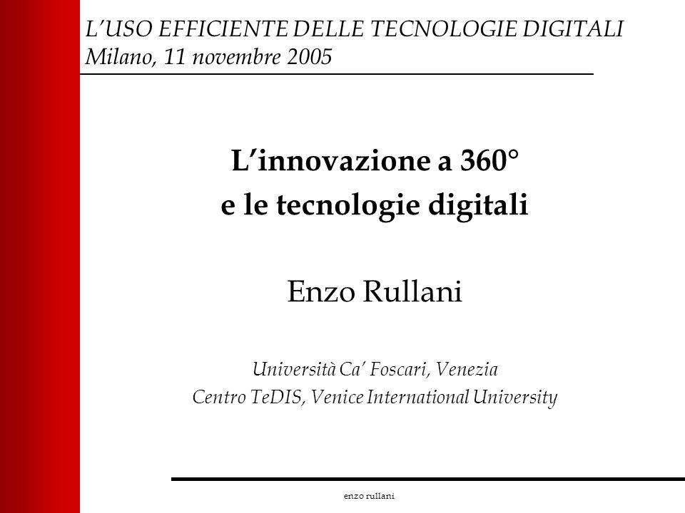 enzo rullani LUSO EFFICIENTE DELLE TECNOLOGIE DIGITALI Milano, 11 novembre 2005 Linnovazione a 360° e le tecnologie digitali Enzo Rullani Università C