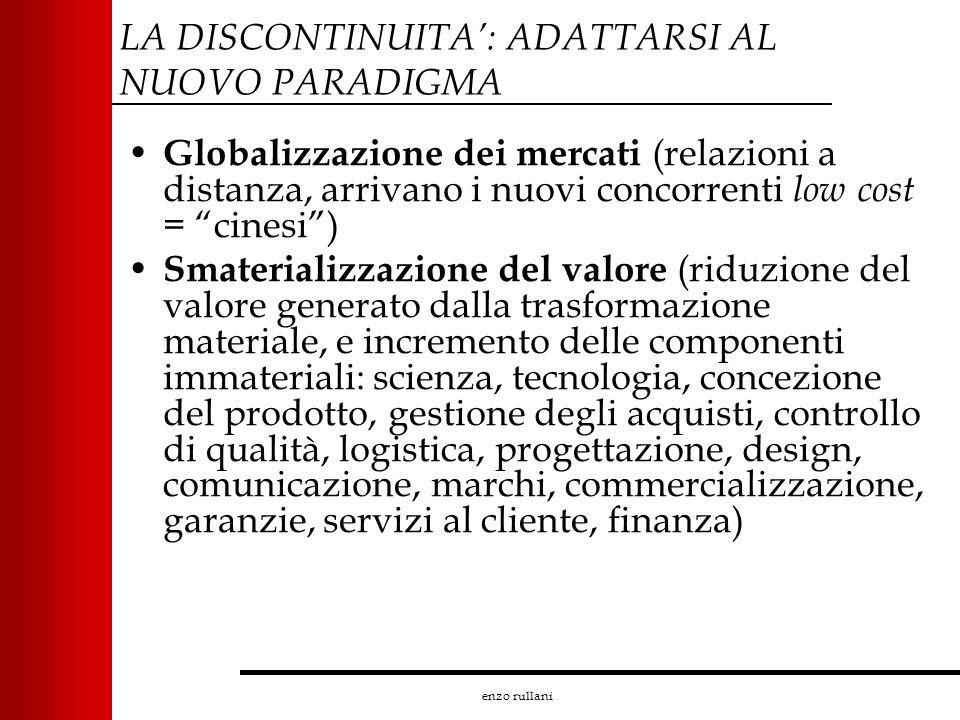 enzo rullani LA DISCONTINUITA: ADATTARSI AL NUOVO PARADIGMA Globalizzazione dei mercati (relazioni a distanza, arrivano i nuovi concorrenti low cost =