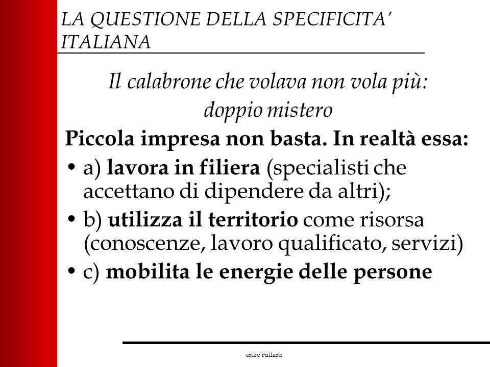 enzo rullani LA QUESTIONE DELLA SPECIFICITA ITALIANA Il calabrone che volava non vola più: doppio mistero Piccola impresa non basta. In realtà essa: a
