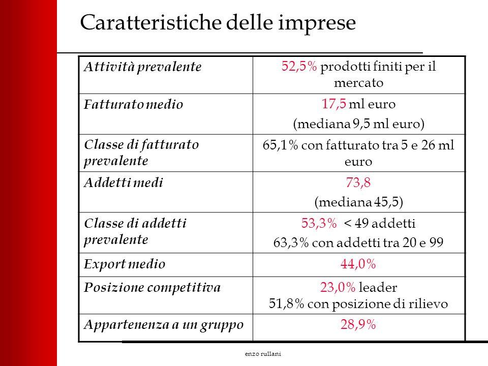 enzo rullani Caratteristiche delle imprese Attività prevalente 52,5% prodotti finiti per il mercato Fatturato medio 17,5 ml euro (mediana 9,5 ml euro)