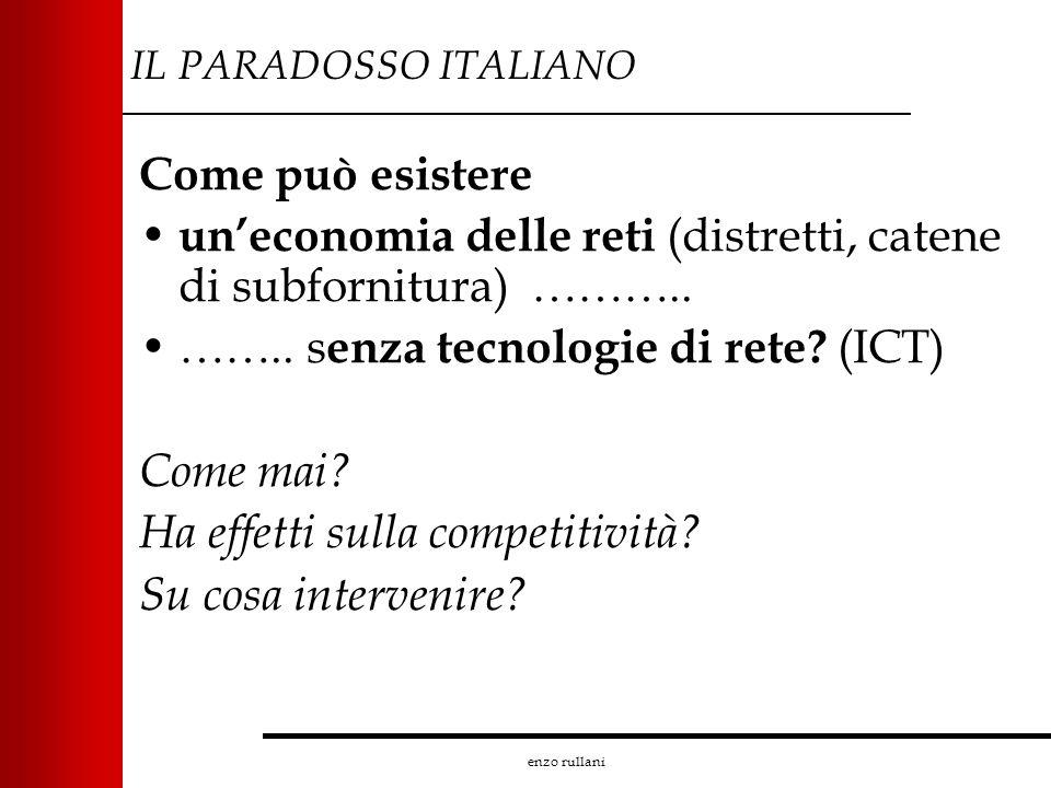 enzo rullani IL PARADOSSO ITALIANO Come può esistere uneconomia delle reti (distretti, catene di subfornitura) ……….. …….. s enza tecnologie di rete? (