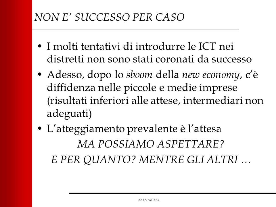 enzo rullani NON E SUCCESSO PER CASO I molti tentativi di introdurre le ICT nei distretti non sono stati coronati da successo Adesso, dopo lo sboom de