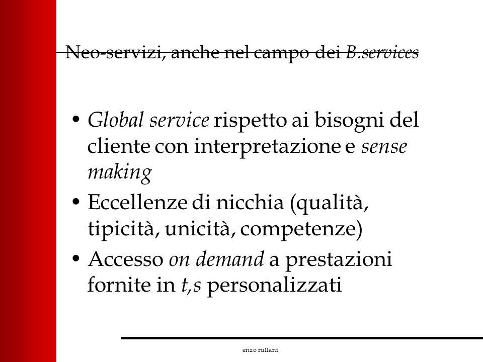 enzo rullani Neo-servizi, anche nel campo dei B.services Global service rispetto ai bisogni del cliente con interpretazione e sense making Eccellenze