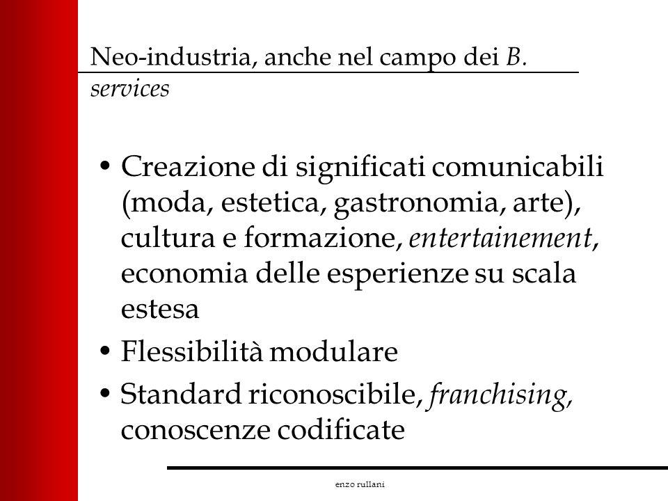 enzo rullani Neo-industria, anche nel campo dei B. services Creazione di significati comunicabili (moda, estetica, gastronomia, arte), cultura e forma