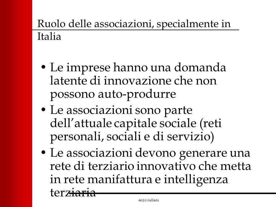 enzo rullani Ruolo delle associazioni, specialmente in Italia Le imprese hanno una domanda latente di innovazione che non possono auto-produrre Le ass