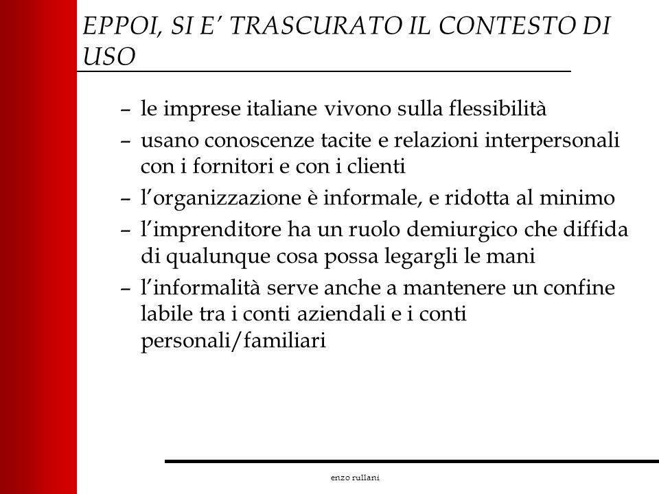 enzo rullani EPPOI, SI E TRASCURATO IL CONTESTO DI USO –le imprese italiane vivono sulla flessibilità –usano conoscenze tacite e relazioni interperson