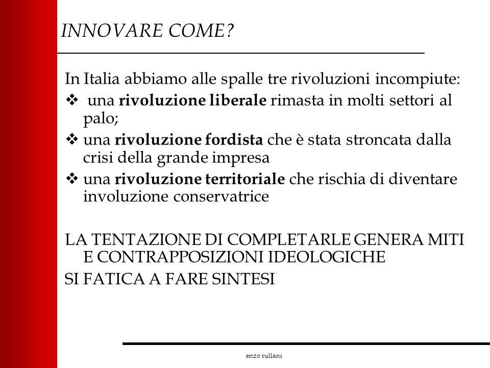 enzo rullani INNOVARE COME? In Italia abbiamo alle spalle tre rivoluzioni incompiute: una rivoluzione liberale rimasta in molti settori al palo; una r